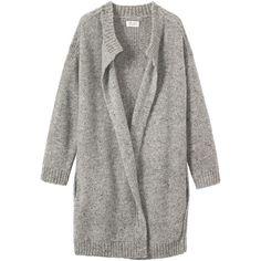 Toast Mohair Tweed Knit Coat ($139) ❤ liked on Polyvore featuring outerwear, coats, jackets, cardigans, grey melange, gray tweed coat, collarless coat, grey wrap coat, gray coat and tweed coat