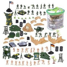 Juvale 100 Piece Military Figures and Accessories - Toy Army Soldiers in 2 Colors, War Soldiers Playset with 2 Flags and Battlefield Accessories Figurines D'action, Color Wars, Best Army, Military Figures, Army Men, Army Guys, Army Soldier, Toy Soldiers, Old Toys