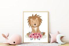 Cute Lion, Large Paper Flowers, Safari Animals, Watercolor Flowers, Wall Art Prints, Africa, Teddy Bear, Floral Watercolor, Teddy Bears