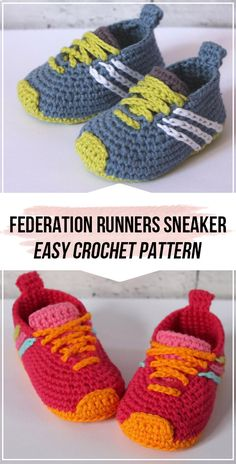 crochet Federation Runners Sneaker pattern crochet Federation Runners Sneaker pattern – easy crochet sneaker pattern for beginners Informations About Crochet gifts Pin You can easily. Crochet For Beginners, Crochet For Kids, Easy Crochet, Baby Clothes Patterns, Baby Patterns, Crochet Patterns, Doll Patterns, Crochet Baby Sandals, Crochet Slippers