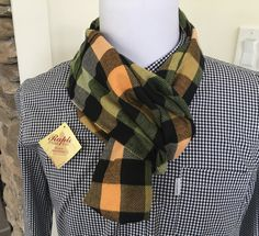 Rapti Yellow And Green Check 100% Cashmere Infinity Scarf $23.09