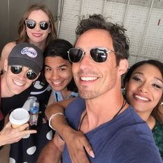 Grant Gustin, Danielle Panabaker, Carlos Valdes, Tom Cavanagh, and Candice Patton