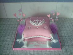 Princess Tiara and Pillow - My first pillow cake and royal icing tiara. Thanks to Misdawn for the tiara template