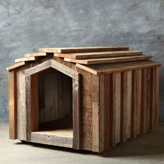 bda7f405cb1 Reclaimed Wood Dog House | The Barkitect Wood Dog House, Pallet Dog House,  Dog
