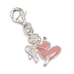 Pink Angel Real Sterling Silver Clip On Charm