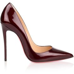 Christian Louboutin So Kate 120 Patent Bordeaux Pump ($725) ❤ liked on Polyvore featuring shoes, pumps, patent leather pumps, high heeled footwear, high heel stiletto pumps, patent shoes and stiletto high heel shoes