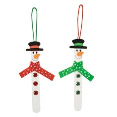 "This Craft Stick Snowman Ornament Craft Kit is the perfect Christmas craft for kids! Your little elves will love building their very own ornaments to spice up your spruce this Christmas season! Includes foam pieces. Wood. 6"". Makes 12. © OTC"