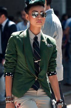 Shirt, Tie and sweater with a skirt! Esther Quek