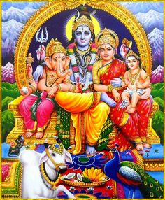 Jai Maa Parvati, Papa Shiva, Shri Murugan and Shri Ganesha Lord Ganesha Paintings, Lord Shiva Painting, Shiva Art, Hindu Art, Ganesha Art, Lord Shiva Hd Wallpaper, Ganesh Wallpaper, Shri Hanuman, Radhe Krishna