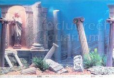 Details about Underwater Atlantis Ruins/Desert 2 Scene Aquarium/Reptile Background - - Mini Aquarium, Aquarium Fish Tank, Planted Aquarium, Cool Fish Tanks, Tropical Fish Tanks, Atlantis, Fish Aquarium Decorations, Fantail Goldfish, Pretty Fish