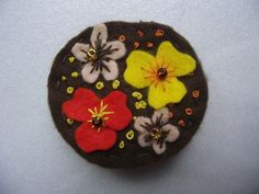 COMPLETED %100 HANMADE FLOWER STITCHED FELT COLORFUL BROOCH WITH BEADS #3 in Crafts, Hand-Crafted Items | eBay
