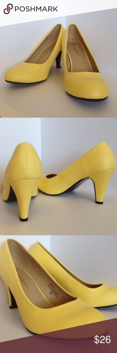 Ronnie pump in Buttercup by Chase & Chloe These simple round toe pumps are made of vegan faux leather, the bright color can add a little flair to any practical outfit! Perfect for the office or even with a pair of jeans. The heel measures 3.25 inches. The color is a little lighter than the pic looks - more pastel. Originally purchased from Modcloth. There's some wear on the soles (pic4). Chase & Chloe Shoes Heels