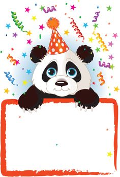 stock vector : Adorable Baby Panda Wearing A Party Hat, Looking Over A Blank Starry Sign With Colorful Confetti Happy Birthday Wishes Cards, Happy Birthday Quotes, Birthday Greetings, Birthday Cards, Panda Birthday, Art Birthday, Birthday Clipart, Panda Party, Panda Images
