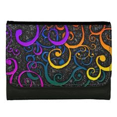 Colorful Flourish Pattern Leather Wallet