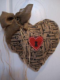 Valentine Day Burlap Door Hanger Valentine Decoration Heart Burlap Keyhole