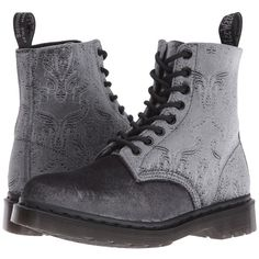 """Dr. Martens Pascal Velvet 8-Eye Boot (Grey Velvet 56"""") Women's Lace-up... ($125) ❤ liked on Polyvore featuring shoes, boots, grey boots, victorian lace up boots, gray boots, laced boots and dr martens shoes"""