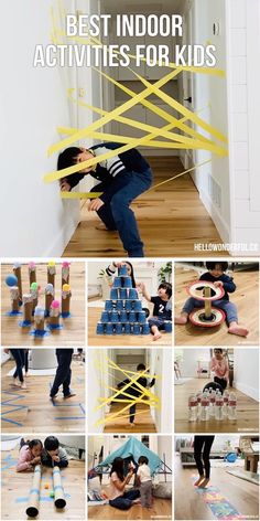 Field Day Games For Kids Discover 50 Cheap FUN Indoor Activities for Kids The best 50 Easy Activities for Kids at home. Cheap and easy to set up indoor activities using common household items and/or recycled materials Toddler Learning Activities, Indoor Activities For Kids, Home Activities, Activities For 6 Year Olds, Gross Motor Activities, Educational Activities, Learning Activities For Kids, Summer Kid Activities, Recycling Activities For Kids