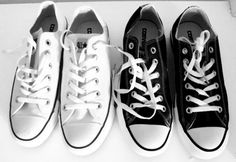 White Converse for the bride and black Converse for the groom. Love this except mine are red....