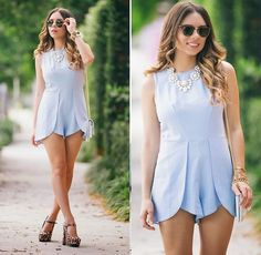 Daniela Ramirez - In Love With Fashion Romper, Forever 21 Shoes, Ray Ban Sunglasses - Baby blues