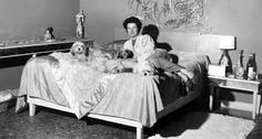 Peggy Guggenheim in the bedroom of Palazzo Venier dei Leoni; behind her Alexander Calder, Silver Behead PGC) Peggy Guggenheim, Palazzo, 1950s Bedroom, Alexandre Calder, Marina Abramovic, Lovers Art, Pet Lovers, Twitter, Room Inspiration