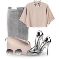 this morning by jiabao-krohn on Polyvore featuring polyvore fashion style Monki Brunello Cucinelli Giannico Sabrina Zeng Oliver Peoples Tinley Road WorkWear Silver YouAsked pencilskirt summer2014