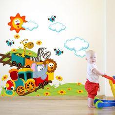 Adesivo Safari zoo Grande Modelo 2 Playroom Mural, Wall Murals, Classroom Walls, Classroom Decor, Preschool Decor, Kindergarten Design, School Murals, Murals For Kids, School Painting