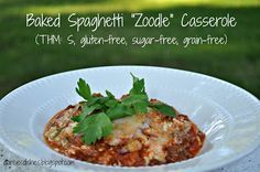 """Darcie's Dishes: Baked Spaghetti """"Zoodle"""" Casserole // This is a healthy twist on an old classic. I've replaced the starchy pasta with zucchini noodles to pack a more nutritional punch. Your whole family will love this one! (THM: S)"""