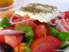 Simple, cooling, wholesome, fulfilling, totally pleasurable Greek Salad with feta cheese