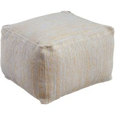 Ashley Furniture Signature Design - Damla Jute/Cotton Pouf - Comfortable Footrest & Ottoman - Traditional - Natural/Blue - This was exactly what I needed. Accent Furniture, Cool Furniture, Living Room Furniture, Square Pouf, Square Ottoman, Jute, Living Room End Tables, Pouf Ottoman, Ottoman Footrest