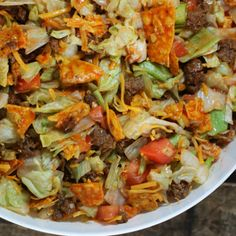 Doritos Taco Salad @keyingredient #cheese #cheddar #tomatoes