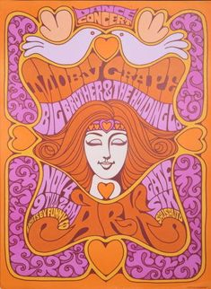 concert poster for Moby Grape and Big Brother & The Holding Co. held November 4th, 1967 in Sausalito, CA