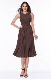 Chocolate Brown Modern A-line Jewel Sleeveless Tea Length Pleated Plus Size Bridesmaid Dresses