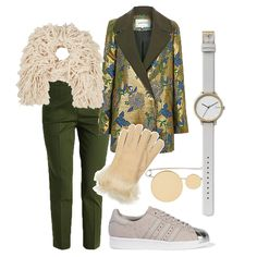 FASHIIONCARPET ♥. Khaki and golde printed long blazer+khaki pants+taupe sneakers+camel gloves+ivory fringed scarf+watch+brooch. Fall Outfit 2016