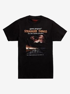This classic video game style graphic T-shirt from Stranger Things features the kids ready to take on the forces of evil they will face in season 2 of the hit Netflix original series. It only gets cottonWash cold; dry lowImportedListed in men's sizes Eleven Stranger Things, Stranger Things Season, Stranger Things Merchandise, Overwatch Video Game, Video Game T Shirts, Game Black, Classic Video Games, T Shirt World, T Shirt And Shorts