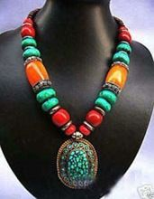 Wholesale&FREE P&P**Unusual Tribal Beeswax Coral Turquoise Pendant Necklace(China (Mainland))