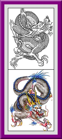 Coloring Pages With Examples. Printable Dragons Coloring Pages 30 High definition coloring pages  black outlines with colored examples This dragon page is from Dragon