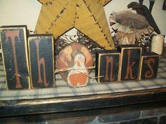 Primitive Give Thanks Turkey Pumpkin Berries Thanksgiving Laser Print 8x10