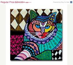 YIPEE 50% off- Cat art Tile Ceramic Coaster Print of painting by Heather Galler