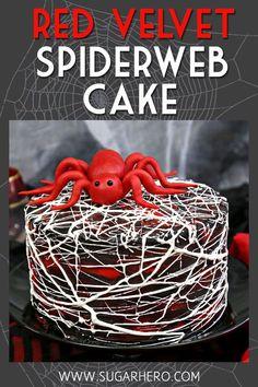 Red Velvet Marshmallow Spiderweb Cake—classic re. - Red Velvet Marshmallow Spiderweb Cake—classic re. Halloween Desserts, Halloween Cupcakes, Halloween Torte, Pasteles Halloween, Bolo Halloween, Hallowen Food, Halloween Party Snacks, Halloween Goodies, Holiday Desserts