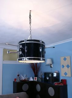 Check out this light fixture made from a drum.