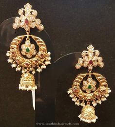22K Gold Chandbali Earrings with Jhumka, Gold Chandbali Jhumka Earrings.