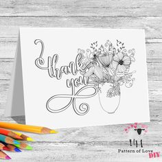 Thank You Coloring Printable Note Cards | Etsy Jw Gifts, To Color, Thank You Notes, Zentangle, Note Cards, Holiday Cards, Card Stock, Coloring, Printables