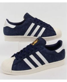 243501d6fb86 Adidas Originals Superstar 80s Deluxe Suede Trainers in Navy White Blue  Discount Discount of sixty percent