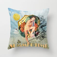 Retro Summertime Throw Pillow by Dotiee - $20.00