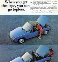Porsche Go Topless! Scintillating​ 1970 advert for Porsche's newest targa top. Porsche's AdMen had their hands full with another new sports car: the sleek Datsun was introduced the same year. Porsche 911 Targa, Carros Porsche, Porsche Models, Porsche Cars, Volkswagen, Mercedes Benz, Auto Union, Ad Car, New Sports Cars