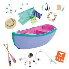 Take your favorite dolls on a boating adventure with the Our Generation Row Boat. These doll accessories make for hours of entertainment with the fishing and recreation theme in this adorable set. Og Dolls, Girl Dolls, Baby Dolls, Our Generation Doll Accessories, Poupées Our Generation, American Girl Doll Sets, American Girl Food, American Dolls, Accessoires Barbie