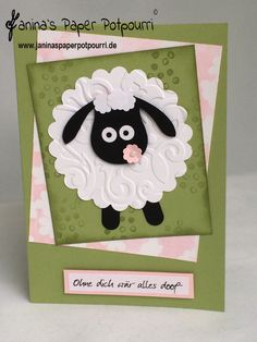 Scha(r)f! Punch Art, Owl Punch, Punch Punch, Kids Cards, Baby Cards, Sheep Cards, Farm Animal Birthday, Jw Gifts, Owl Card