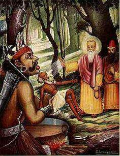 Dhan Dhan Sri Guru Nanak Dev Ji when meets Kauda Rakshas (Kauda Beast) shown in picture and Guru Sahib by His Glance of Grace make him a Saint