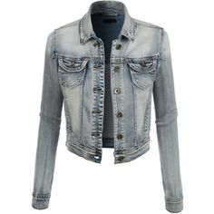 LE3NO Womens Classic Cropped Denim Jean Jacket