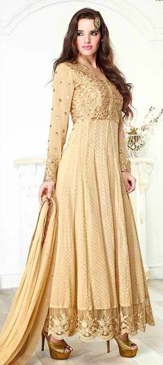 423048, Anarkali Suits, Jacquard, Viscose, Sequence, Resham, Beige and Brown Color Family